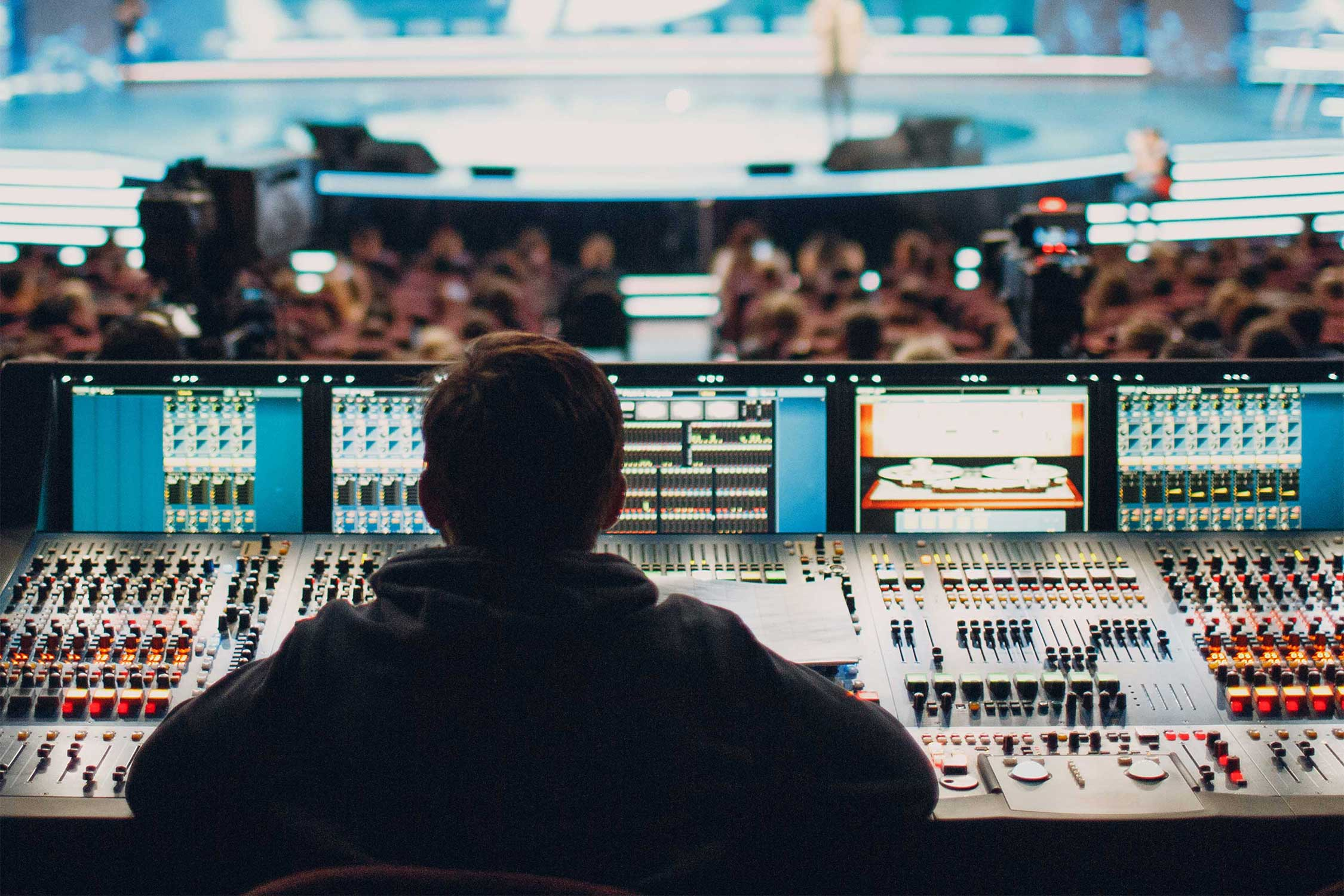 Sound engineer at a live corporate event
